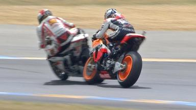 Pedrosa crashes after colliding with Simoncelli
