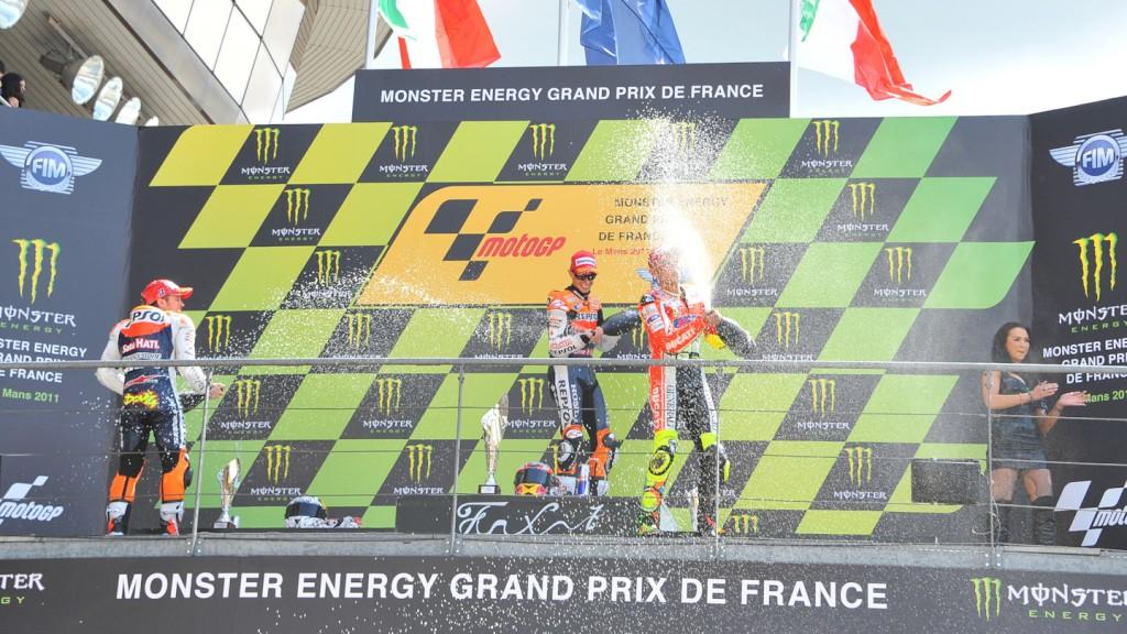 Dovizioso, Stoner, Rossi, Repsol Honda Team, Ducati Team, Le Mans RAC