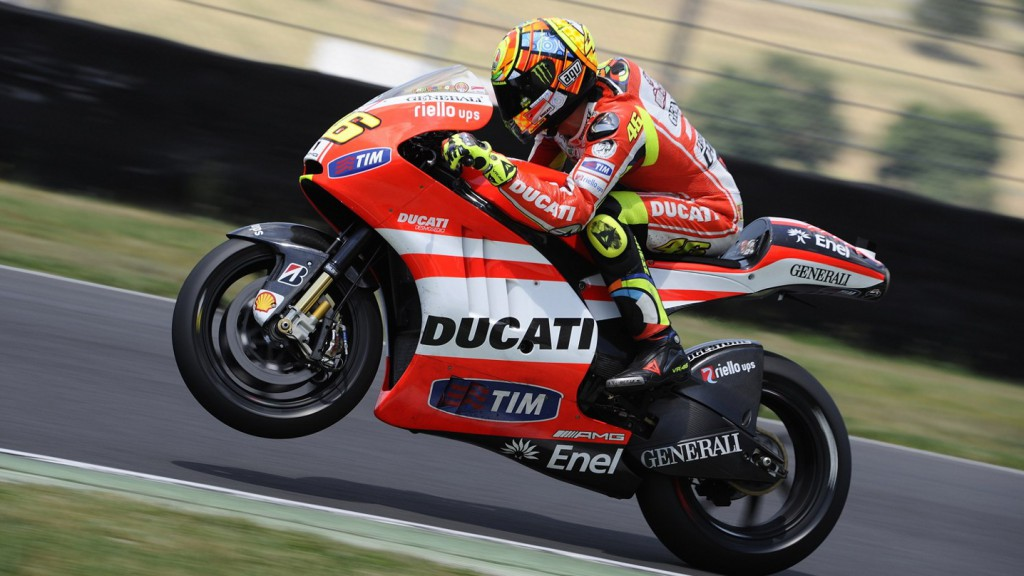 Valentino Rossi tests Ducati GP12 at Mugello