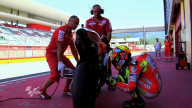 Rossi testing the Ducati Desmosedici GP12 at Mugello
