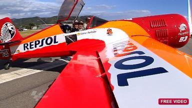 Marc Márquez christens an aerobatic plane