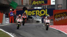 Marco Simoncelli fires his San Carlo Honda Gresini Team to the front of qualifying at the Gran Premi Aperol de Catalunya to take his first pole position of the premier class, in front of Casey Stoner (Repsol Honda) and Jorge Lorenzo (Yamaha Factory Racing).