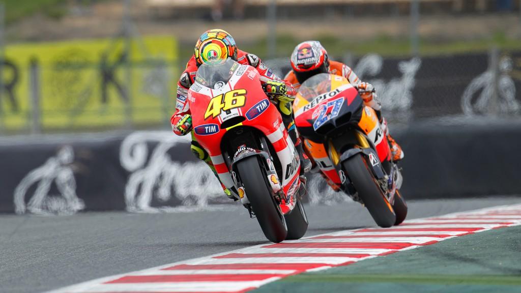 Valentino Rossi, Casey Stoner, Ducati Team, Repsol Honda Team, Catalunya Circuit QP
