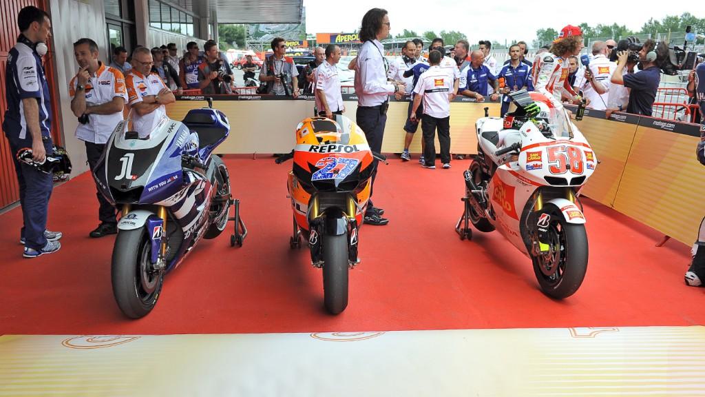 Lorenzo, Stoner, Simoncelli bike, Yamaha Factory Racing, Repsol Honda Team, San Carlo Honda Gresini, Catalunya Circuit QP