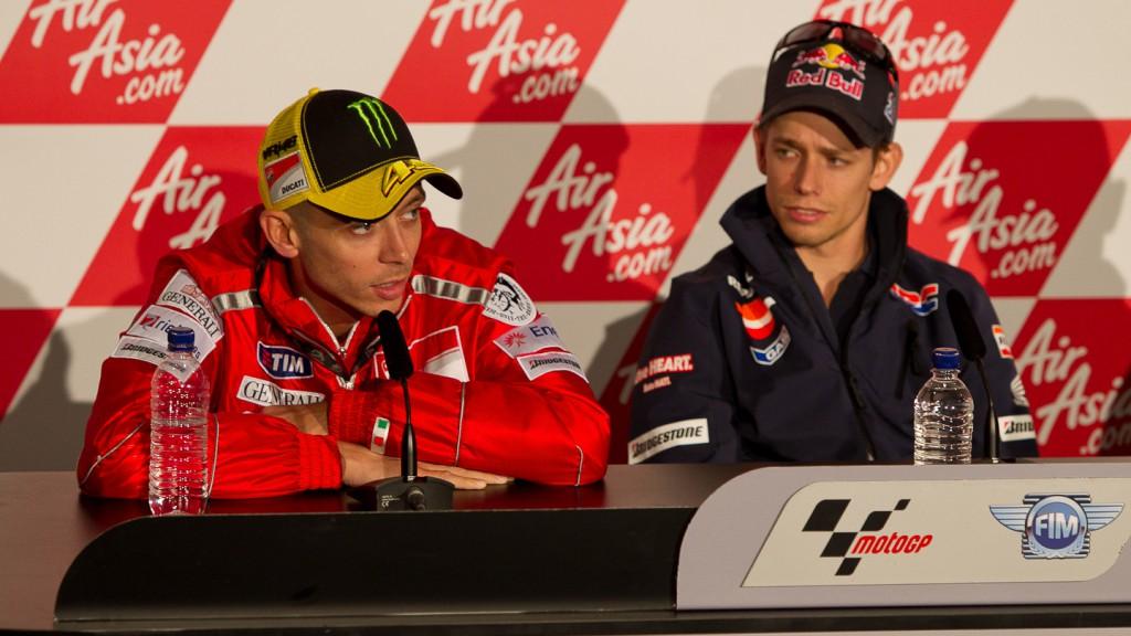 Valentino Rossi, Casey Stoner, Ducati Team, Repsol Honda Team, AirAsia British Grand Prix