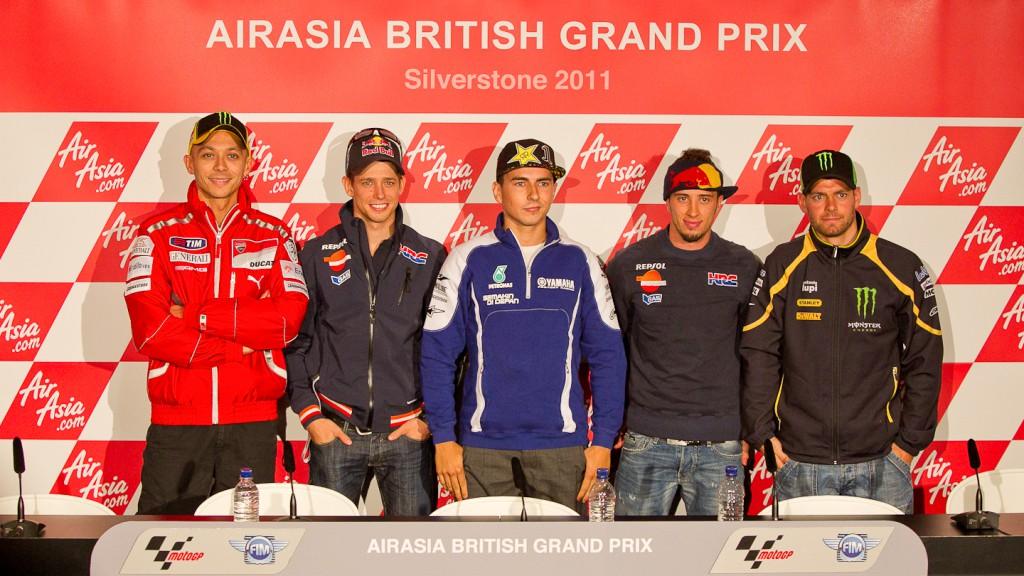 Rossi, Stoner, Lorenzo, Dovizioso, Crutchlow, AirAsia British Grand Prix