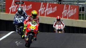 Repsol Honda rider Casey Stoner masterfully led the first practice session of the AirAsia British Grand Prix, chased by San Carlo Honda Gresini rider Marco Simoncelli in second and Jorge Lorenzo (Yamaha Factory Racing) in third.