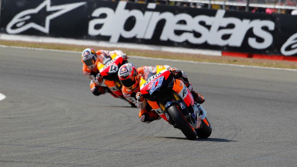 Casey Stoner, Andrea Dovizioso, Repsol Honda Team, Silverstone QP