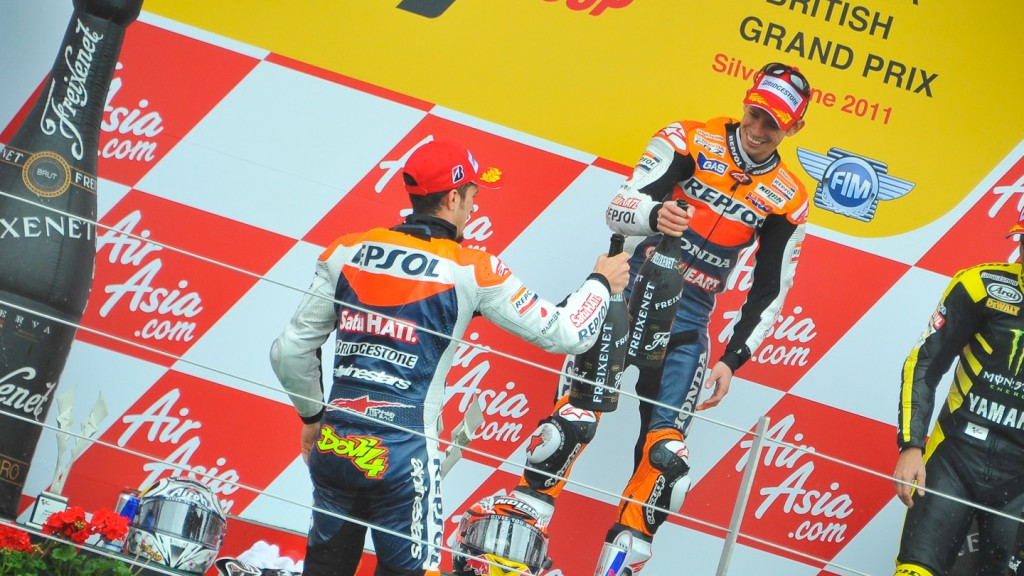 Andrea Dovizioso, Casey Stoner, Repsol Honda Team, Silverstone RAC