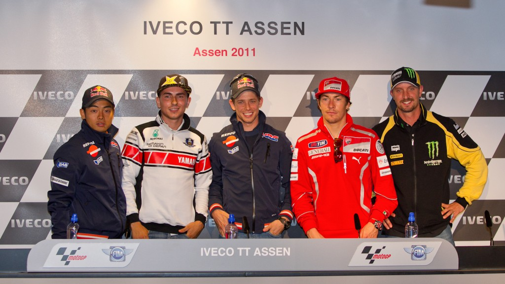 Aoyama, Lorenzo, Stoner, Hayden, Edwards, Iveco TT Assen