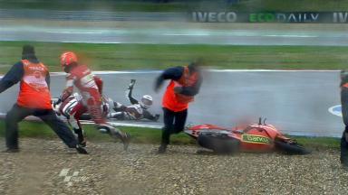 Assen 2011 - Moto2 - FP1 - Action - Javier Forés & Ricard Cardús - Crash