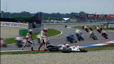 Lorenzo-Simoncelli 1st lap clash at Assen