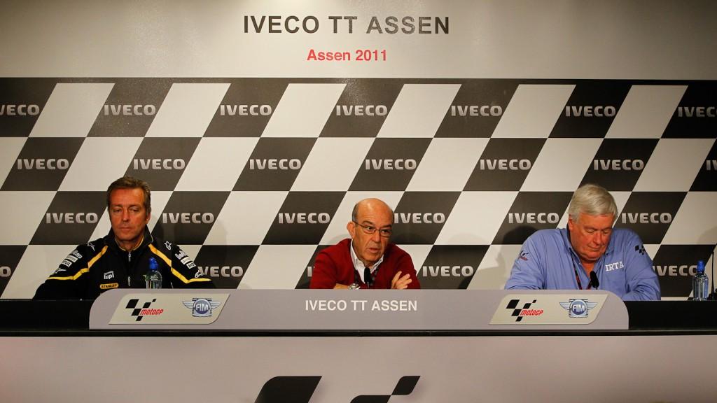 Hervé Poncharal (IRTA President), Carmelo Ezpeleta (Dorna Sports CEO), Mike Trimby (IRTA General Secretary), Assen