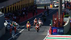 Marco Simoncelli set a last minute fast lap to jump to the front of the pack, ahead of Repsol Honda riders Stoner and Dovizioso, in the first practice session ahead of the Gran Premio d'Italia TIM. The top three riders were within one tenth of a second of each other.