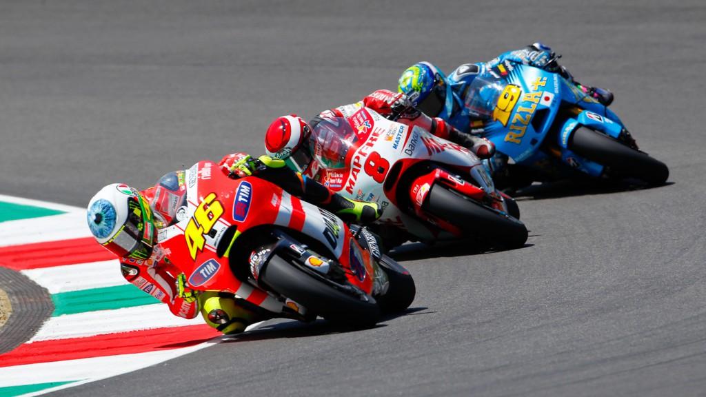 Valentino Rossi, Hector Barbera, Alvaro Bautista, Ducati Team, Mapfre Aspar Team, Rizla Suzuki MotoGP, Mugello RAC