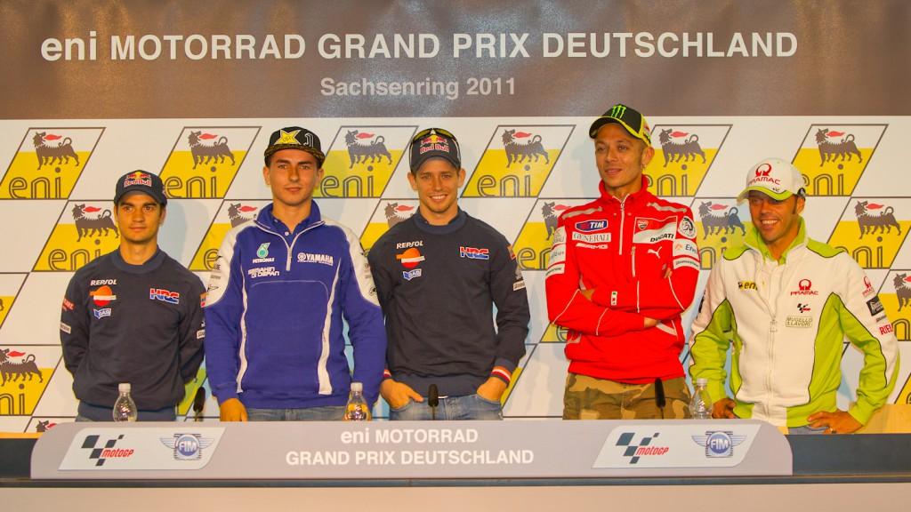 Pedrosa, Lorenzo, Stoner, Rossi, Capirossi, Press Conference, eni Motorrad Grand Prix Deutschland