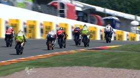 A last minute fast lap delivered by Bankia Aspar rider Nico Terol pushed the Spaniard to the top of the charts at the eni Motorrad Grand Prix Deutschland at the Sachsenring circuit, in an all Spanish top four FP2.