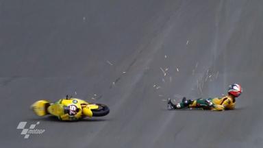 Sachsenring 2011 - Moto2 - FP2 - Action - Mattia Pasini - Crash