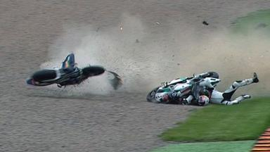 Sachsenring 2011 - Moto2 - Race - Espargaro and Neukirchner - Crash