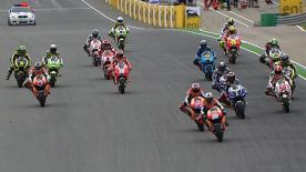 Dani Pedrosa emerged victorious from a three way race long battle for first, with Jorge Lorenzo stealing second from Casey Stoner on the last corner.