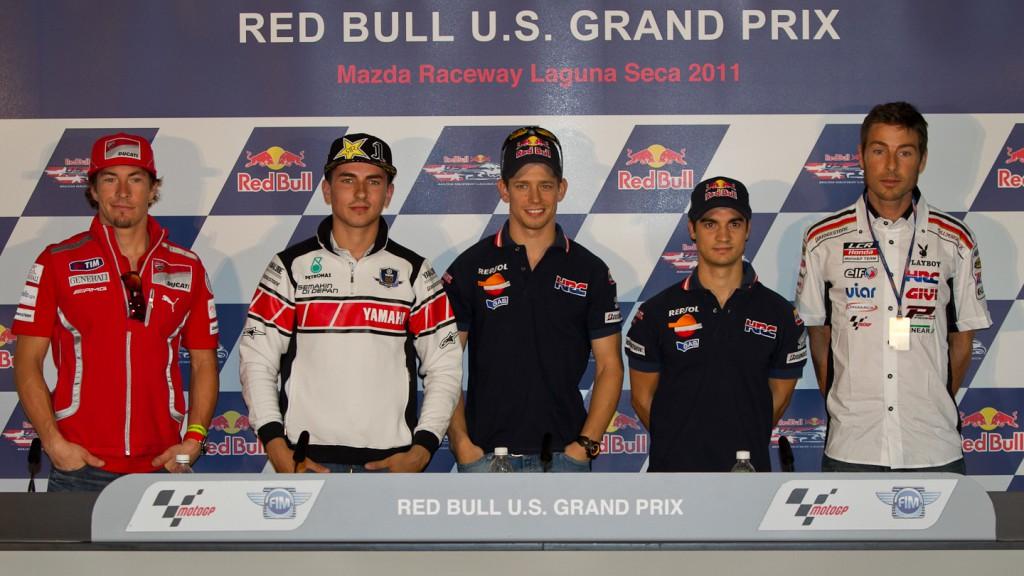 Hayden, Lorenzo, Stoner, Pedrosa, Bostrom, Ducati Team, Yamaha Factory Racing, Repsol Honda Team, LCR Honda Team, Laguna Seca