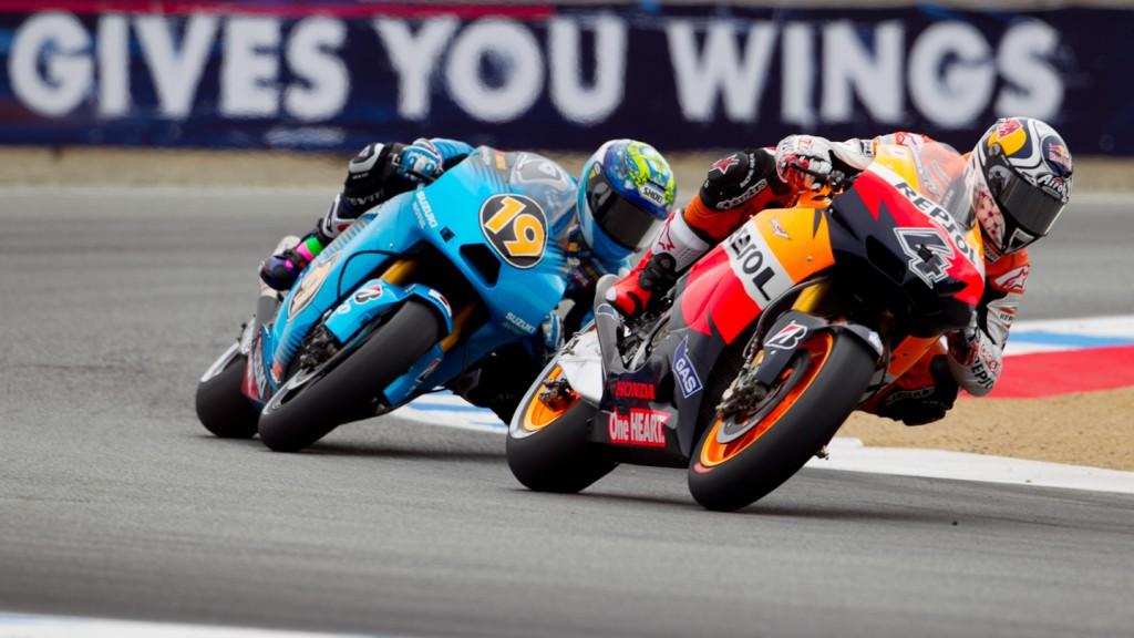 Andrea Dovizioso, Alvaro Bautista, Repsol Honda Team, Rizla Suzuki MotoGP, Laguna Seca FP1