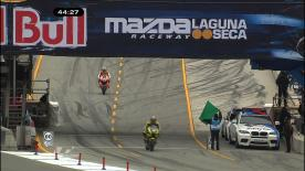 Casey Stoner topped the third practice outing of the Red Bull US Grand Prix, less than two hundredths of a second ahead of Dani Pedrosa at the Mazda Raceway Laguna Seca circuit. Jorge Lorenzo, who crashed spectacularly on the cool down lap though fortunately appeared unhurt, was third in the timings.