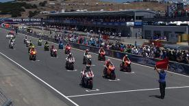Repsol Honda rider Casey Stoner took victory over Jorge Lorenzo at the Red Bull US Grand Prix race at the spectacular Laguna Seca circuit, his fifth win of 2011 to further strengthen his lead in the World Championship rankings.