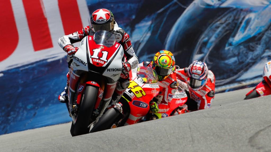 Ben Spies, Valentino Rossi, Nicky Hayden, Yamaha Factory Racing, Ducati Team, Laguna Seca RAC
