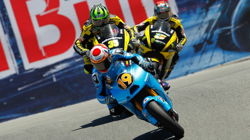 Alvaro Bautista, Cal Crutchlow, Colin Edwards, Rizla Suzuki MotoGP, Yamaha Tech 3, Laguna Seca RAC