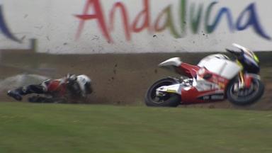 Brno 2011 - Moto2 - QP - Action - Santiago Hernandez  - Crash
