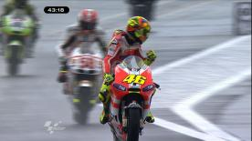 Stoner led the MotoGP field in a wet third free practice session ahead of the Cardion ab Grand Prix České republiky qualifying. Lorenzo posted second quickest and Rossi joined the top three with the third fastest time.