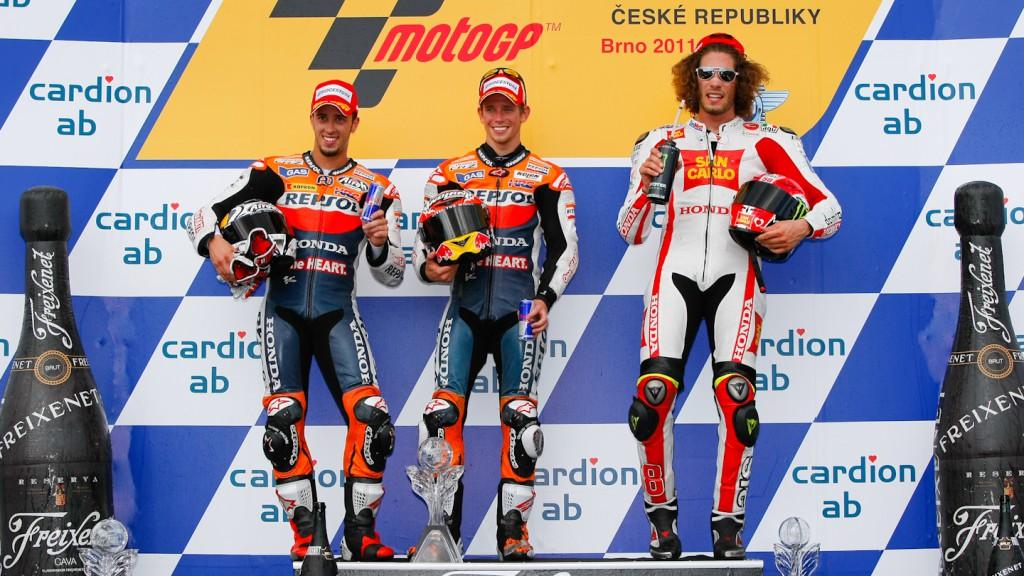 Andrea Dovizioso, Casey Stoner, Marco Simoncelli, Repsol Honda Team, San Carlo Honda Gresini, Brno RAC