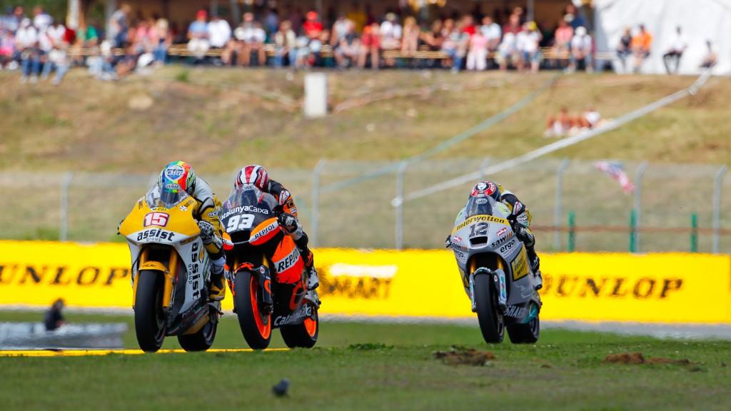 Alex de Angelis, Marc Marquez, Thomas Luthi, JiR Moto2, Team CatalunyaCaixa Repsol, Interwetten Paddock Moto2, Brno RAC