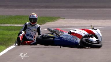 Indianapolis 2011 - Moto2 - FP1 - Action - Randy Krummenacher - Crash