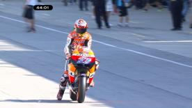 The Australian set the fastest lap of the morning on his Repsol Honda ahead of qualifying for the Red Bull Indianapolis Grand Prix, with Spies and Pedrosa again following Stoner in second and third in the timings.