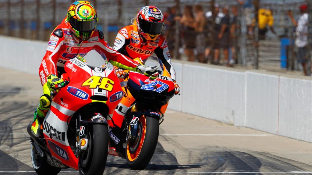 Valentino Rossi, Casey Stoner, Ducati Team, Repsol Honda Team, Indianapolis RAC
