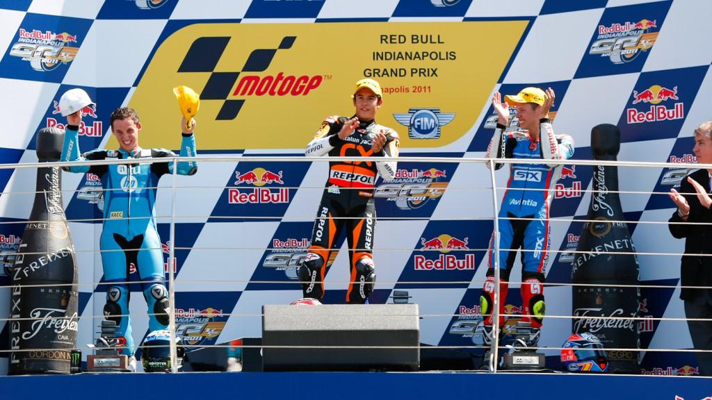 Espargaro, Marquez, Rabat, HP Tuenti Speed Up, Team CatalunyaCaixa Repsol, Blusens-STX, Indianapolis RAC
