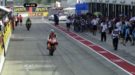 The Repsol Honda rider lay down the quickest lap of the weekend so far in the third and final practice session in Misano. Dani Pedrosa followed in second with Jorge Lorenzo completing the top three.