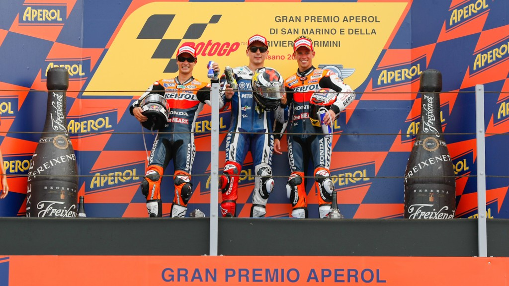 Pedrosa, Lorenzo, Stoner, Repsol Honda Team, Yamaha Factory Racing, Misano RAC
