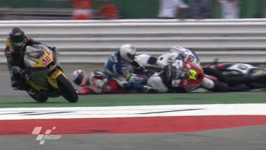 Misano 2011 - Moto2 - Race - Action - Race Start - Crash