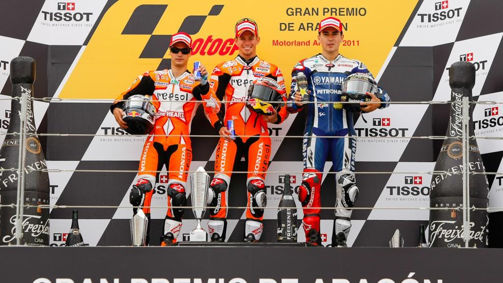 Pedrosa, Stoner, Lorenzo, Repsol Honda Team, Yamaha Factory Racing, MotorLand Aragón RAC