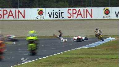 Motegi 2011 - Moto2 - WarmUp - Action - Randy Krummenacher - Crash