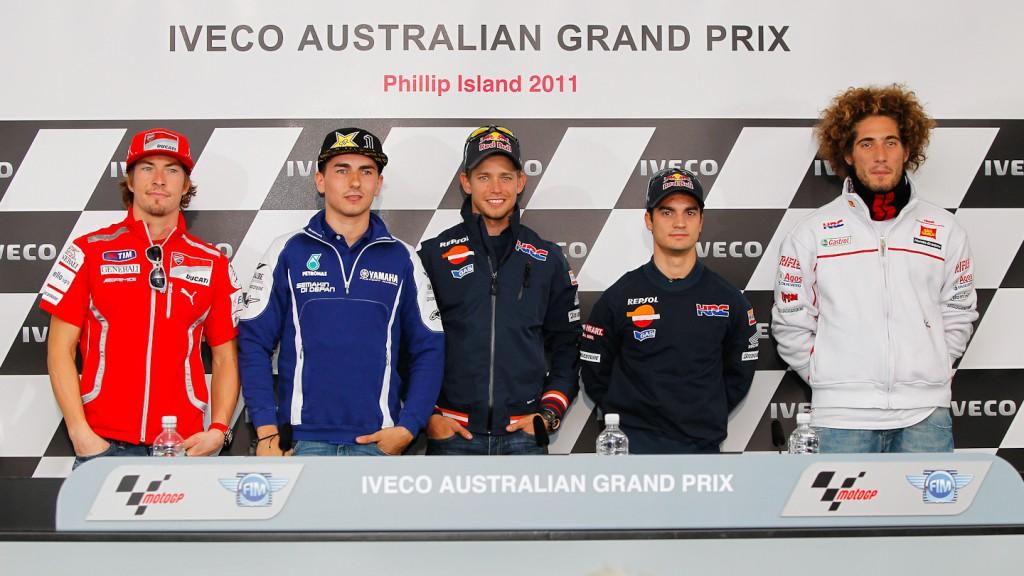 Hayden, Lorenzo, Stoner, Pedrosa, Simoncelli, Iveco Australian Grand Prix