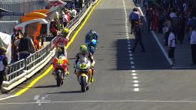 The Australian took control at his home track while title defender Lorenzo lapped in second place and Simoncelli ranked third fastest in the field.
