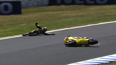 Phillip Island 2011 - Moto2 - FP1 - Action - Simone Corsi - Crash