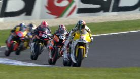 Alex de Angelis led the second Moto2 practice outing at the Iveco Australian Grand Prix, ahead of Andrea Iannone and Stefan Bradl, though Bradl's blistering morning lap remained fastest of the day.
