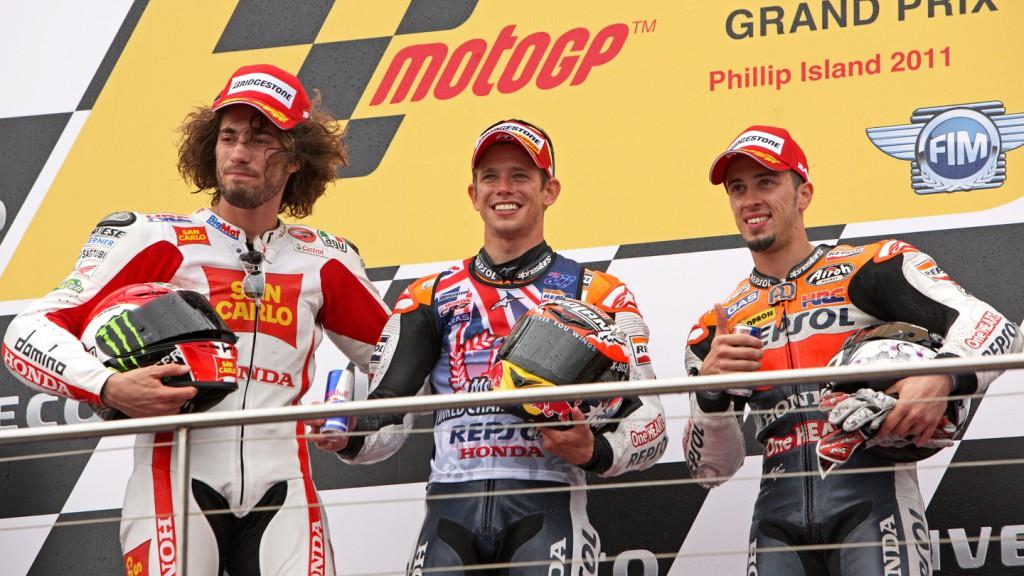 Simoncelli, Stoner, Dovizioso, San Carlo Honda Gresini, Repsol Honda Team