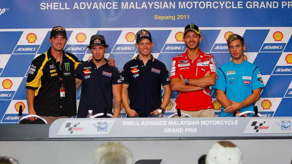 Edwards, Dovizioso, Stoner, Rossi, Bautista, Shell Advance Malaysian Motorcycle Grand Prix Press Conference