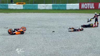 Sepang 2011 - Moto2 - FP1 - Jules Cluzel & Marc Márquez - Crash